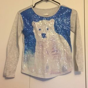 Justice Sequin polar bear top